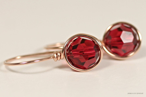 14K rose gold filled wire wrapped scarlet red Swarovski crystal drop earrings handmade by Jessica Luu Jewelry