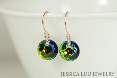 14K rose gold filled blue green vitrail medium Swarovski crystal dangle earrings handmade by Jessica Luu Jewelry
