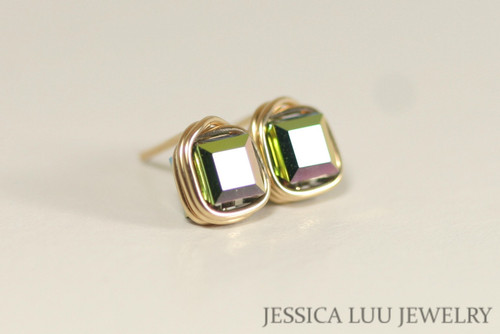 14K yellow gold filled wire wrapped vitrail medium green purple Swarovski crystal square cube stud earrings handmade by Jessica Luu Jewelry