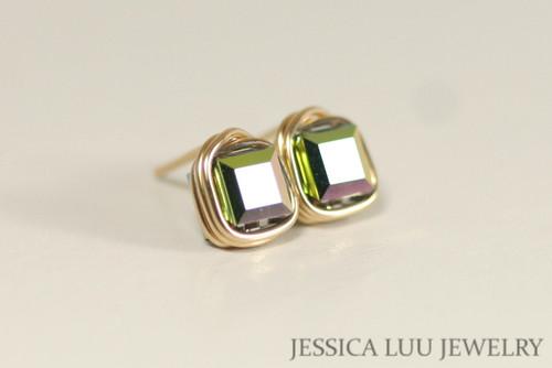 14K yellow gold filled wire wrapped vitrail medium green purple Swarovski crystal square cube stud earrings handmade by Jessica Luu Jewelry