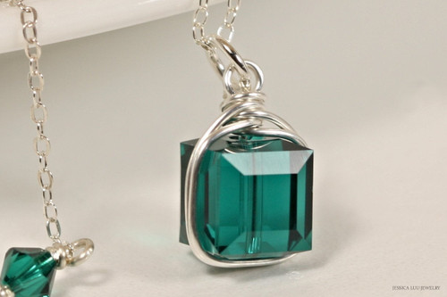 Sterling silver emerald green Swarovski crystal cube pendant on chain necklace handmade by Jessica Luu Jewelry