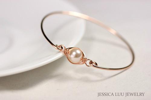 14k rose gold filled wire wrapped bangle bracelet with creamrose Swarovski pearl handmade by Jessica Luu Jewelry