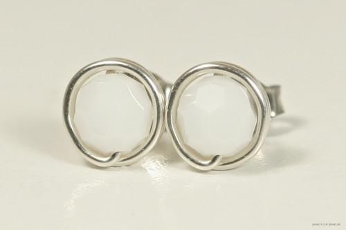 Sterling silver wire wrapped white alabaster Swarovski crystal stud earrings handmade by Jessica Luu Jewelry