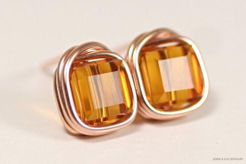 14K rose gold filled wire wrapped orange topaz Swarovski crystal cube pendant on chain necklace handmade by Jessica Luu Jewelry