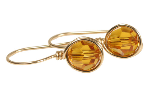 14K yellow gold filled wire wrapped orange topaz crystal drop earrings handmade by Jessica Luu Jewelry