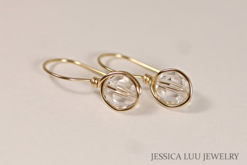 14K yellow gold filled wire wrapped clear faux diamond Swarovski crystal drop earrings handmade by Jessica Luu Jewelry