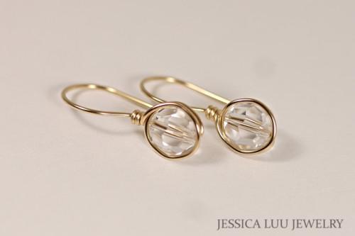14K yellow gold filled wire wrapped clear faux diamond Swarovski crystal drop earrings handmade by Jessica Luu Jewelry