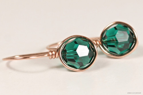 14K rose gold filled wire wrapped emerald green Swarovski crystal drop earrings handmade by Jessica Luu Jewelry