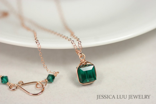 14K rose gold filled wire wrapped emerald green Swarovski crystal cube pendant on chain necklace handmade by Jessica Luu Jewelry