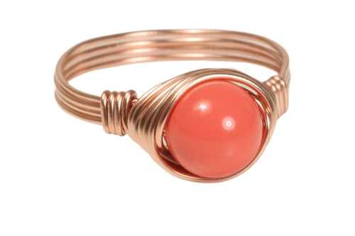 14K rose gold filled wire wrapped orange coral Swarovski pearl solitaire ring handmade by Jessica Luu Jewelry