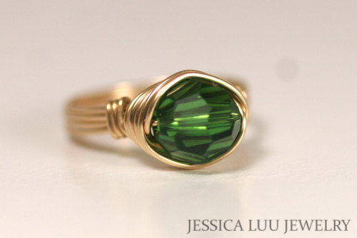 Gold Green Swarovski Crystal Ring - Other Metal Options Available