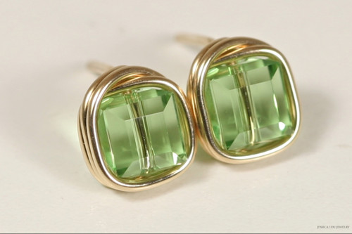 14K yellow gold filled light green peridot Swarovski crystal square cube stud earrings handmade by Jessica Luu Jewelry