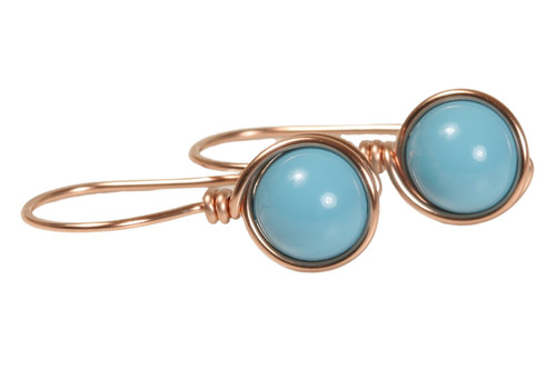 14K rose gold filled wire wrapped turquoise blue Swarovski pearl drop earrings handmade by Jessica Luu Jewelry