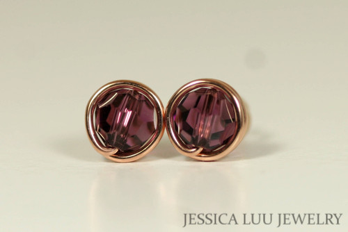 14K rose gold filled wire wrapped amethyst purple Swarovski crystal round stud earrings handmade by Jessica Luu Jewelry
