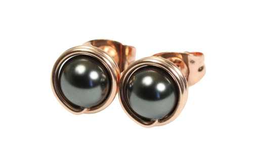 14K rose gold filled wire wrapped black pearl stud earrings handmade by Jessica Luu Jewelry