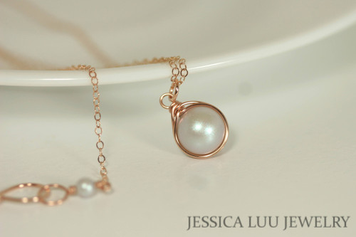 14K rose gold filled wire wrapped iridescent dove grey Swarovski pearl solitaire pendant on chain necklace handmade by Jessica Luu Jewelry