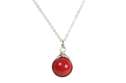 Sterling silver wire wrapped red coral Swarovski pearl solitaire pendant on chain necklace handmade by Jessica Luu Jewelry