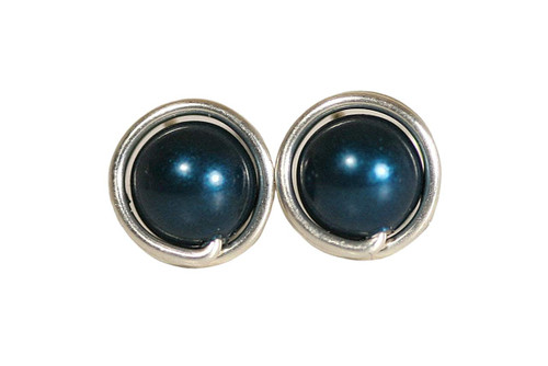 Sterling Silver Blue Pearl Stud Earrings - Available in 2 Sizes and Other Metal Options