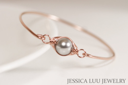 14k rose gold filled wire wrapped bangle bracelet with light grey Swarovski pearl handmade by Jessica Luu Jewelry