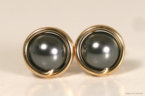 14K yellow gold filled wire wrapped dark grey Swarovski pearl stud earrings handmade by Jessica Luu Jewelry