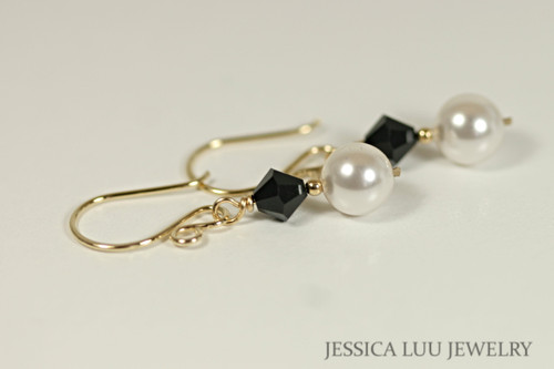 Gold White Pearl and Jet Black Swarovski Crystal Earrings