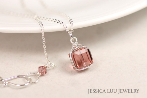 Sterling silver wire wrapped blush rose pink Swarovski crystal cube pendant on chain necklace handmade by Jessica Luu Jewelry