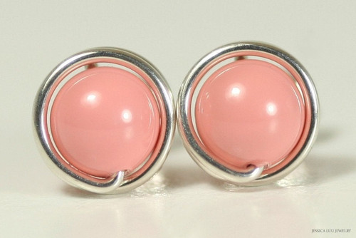 Sterling silver wire wrapped pink coral Swarovski pearl stud earrings handmade by Jessica Luu Jewelry