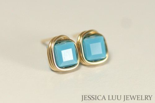14K yellow gold filled wire wrapped turquoise blue Swarovski crystal cube pendant on chain necklace handmade by Jessica Luu Jewelry