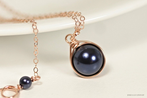 14K rose gold filled wire wrapped dark navy night blue Swarovski pearl solitaire pendant on chain necklace handmade by Jessica Luu Jewelry