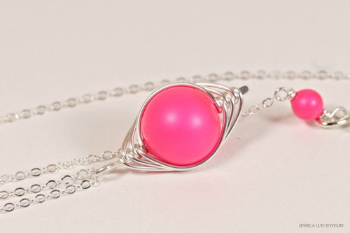 Sterling silver herringbone wire wrapped bright neon pink Swarovski pearl pendant on chain necklace handmade by Jessica Luu Jewelry
