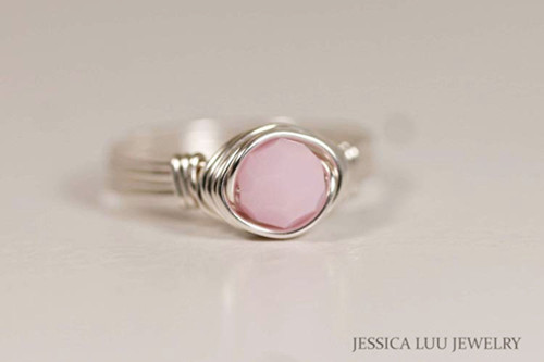 Sterling Silver Light Pink Alabaster Swarovski Crystal Ring - Other Metal Options Available
