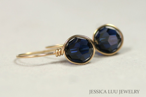 14K yellow gold filled wire wrapped dark indigo blue Swarovski crystal drop earrings handmade by Jessica Luu Jewelry