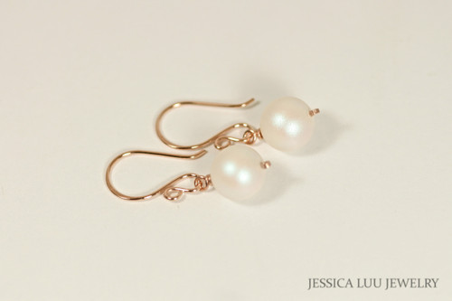 Rose Gold Iridescent White Pearl Dangle Earrings - Available with Matching Necklace and Other Metal Options