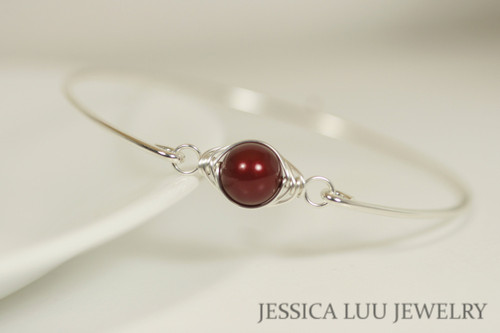 Sterling silver wire wrapped bangle bracelet with bordeaux pearl handmade by Jessica Luu Jewelry