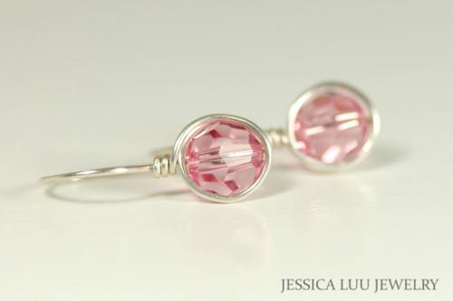 Sterling silver wire wrapped light pink rose Swarovski crystal drop earrings handmade by Jessica Luu Jewelry
