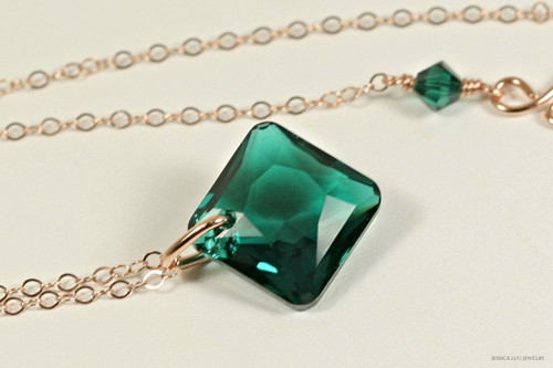 14K rose gold filled emerald green Swarovski crystal princess cut pendant on chain necklace handmade by Jessica Luu Jewelry