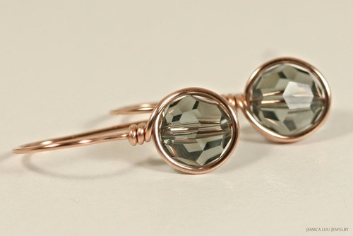 14K rose gold filled wire wrapped black diamond grey Swarovski crystal drop earrings handmade by Jessica Luu Jewelry