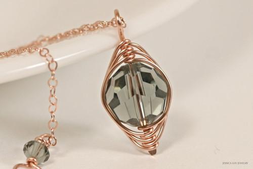 14K rose gold filled herringbone wire wrapped black diamond grey Swarovski crystal pendant on chain necklace handmade by Jessica Luu Jewelry