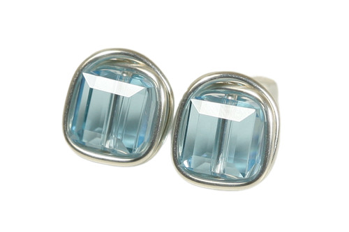 Sterling silver wire wrapped aquamarine Swarovski crystal cube stud earrings handmade by Jessica Luu Jewelry