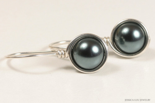 Sterling silver wire wrapped blue grey Tahitian Swarovski pearl drop earrings handmade by Jessica Luu Jewelry