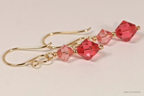 14K yellow gold filled wire wrapped rose peach and padparadscha pink Swarovski crystal dangle earrings handmade by Jessica Luu Jewelry