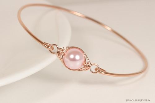 14k rose gold filled wire wrapped bangle bracelet with light pink rosaline Swarovski pearl handmade by Jessica Luu Jewelry