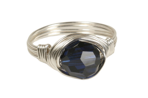 Sterling silver wire wrapped dark indigo blue crystal solitaire ring handmade by Jessica Luu Jewelry
