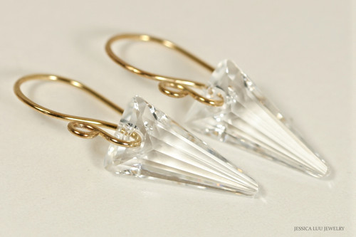 14K yellow gold filled clear Swarovski crystal spike pendant dangle earrings handmade by Jessica Luu Jewelry