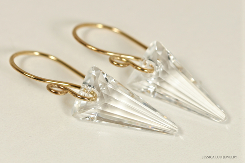 14K yellow gold filled clear crystal spike pendant dangle earrings handmade by Jessica Luu Jewelry