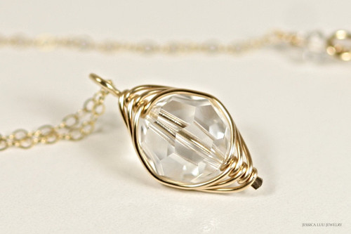 14K yellow gold filled herringbone wire wrapped clear Swarovski crystal pendant on chain necklace handmade by Jessica Luu Jewelry