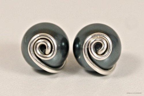 Sterling silver wire wrapped Tahitian Swarovski pearl stud earrings handmade by Jessica Luu Jewelry