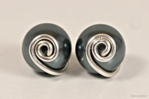 Sterling silver wire wrapped Tahitian pearl stud earrings handmade by Jessica Luu Jewelry