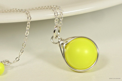Sterling silver wire wrapped neon yellow pearl solitaire pendant on chain necklace handmade by Jessica Luu Jewelry