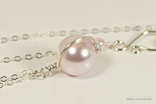 Sterling silver wire wrapped light pink rosaline Swarovski pearl solitaire pendant on chain necklace handmade by Jessica Luu Jewelry